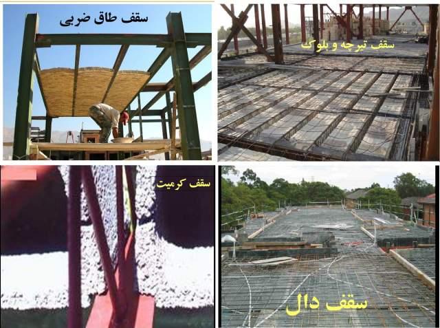 پاورپوینت بررسی انواع سقف ها در سازه های فولادی و بتنی