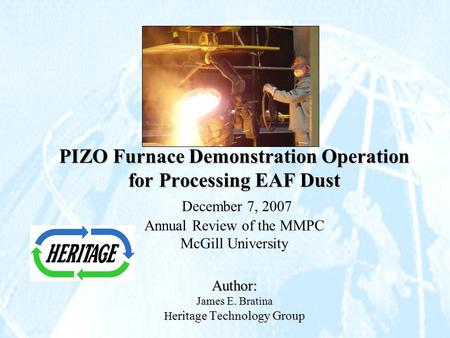 دانلود پاورپوینت PIZO Furnace Demonstration Operation for Processing EAF Dust